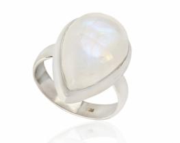 Srebrn prstan ANGEL - mesečev kamen 14 x 19 mm