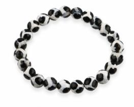 Zapestnica PANDA - črnobeli ahat