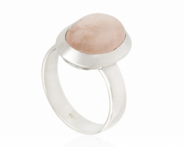 Srebrn prstan rožnati MORGANIT