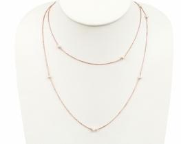 Dolga srebrna verižica z biseri- dve barvi