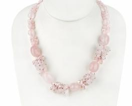 Modna ogrlica LEYLA - roževec, ametist, ahat in korala