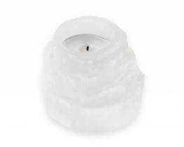 Svečnik beli selenit 60 x 70 mm