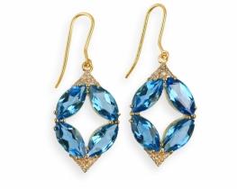 Zlati uhani MOZAIK modri topaz z diamanti