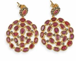 Zlati viktorijanski uhani DESIRE z rubini in diamanti
