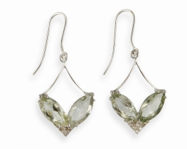 Diamantni uhani VENERA zeleni ametist