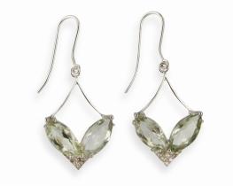Srebrni uhani VENERA zeleni ametist z diamanti