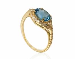 Diamantni prstan NATALIE z modrim topazom 8 x 6 mm