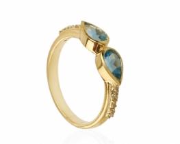 Diamantni prstan ABELIA modri topaz 6 x 4 mm