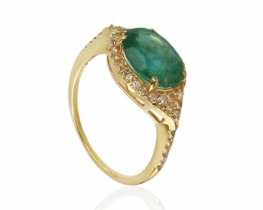 Zlat prstan NATALIE smaragd z diamanti