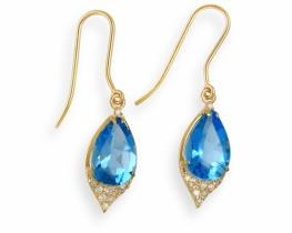 Zlati uhani ABELIA modri topaz z diamanti