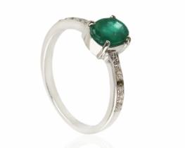Srebrn prstan KALEJDOSKOP smaragd s topazi