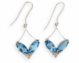 Srebrni uhani VENERA modri topaz z diamanti