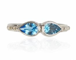 Prstan ABELIA modri topaz ali peridot z diamanti