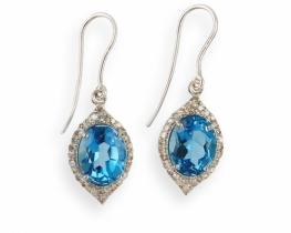 Srebrni uhani NATALIE modri topaz z diamanti