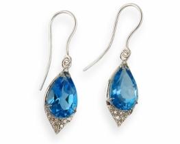 Srebrni uhani ABELIA modri topaz z diamanti