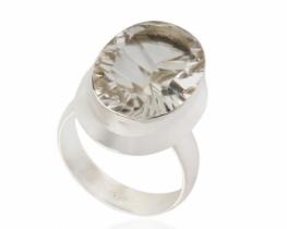 Srebrn prstan kamena strela LASER 13 x 18 mm
