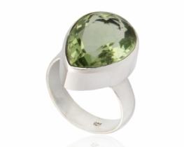 Srebrn prstan ABELIA zeleni ametist 12 x 16 mm