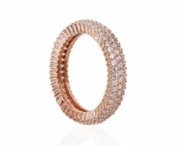 Srebrn prstan SIRENA 5 mm - roza srebro