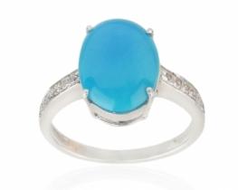 Srebrn prstan Andante - turkiz Blue Bird 10 x 12 mm