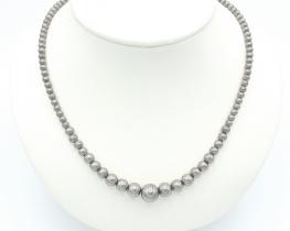 Ogrlica srebrne kroglice 4 - 10 mm