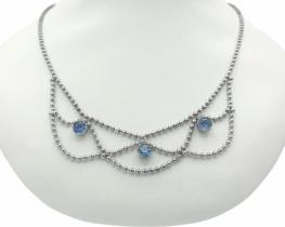 Srebrna ogrlica BLUE LACE