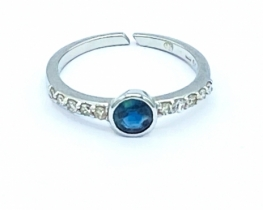 Zlat prstan SIGMA - modri safir z diamanti