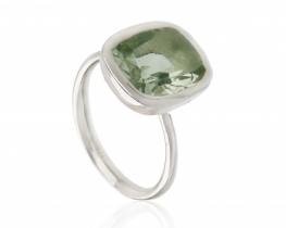 Srebrn prstan LUMINUS zeleni ametist