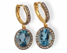 Zlati uhani LONDON BLUE 9 x11 mm z diamanti