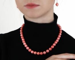 Ogrlica, zapestnica in uhani iz roza koral - set ROSE
