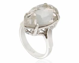 Srebrn prstan AURORA s kameno strelo