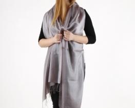 Šal COCOON - 100 % svila -temno srebrna