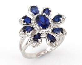 Srebrn prstan Love Beam ALLURE z modrimi safirji