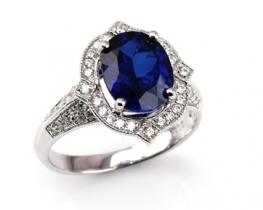 Srebrn prstan Love Beam ICON z modrim safirjem