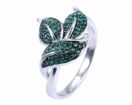Srebrn prstan LOVE BEAM s smaragdi