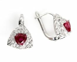 Srebrni uhani LOVE SMILE Briolette z rubinom in cirkoni