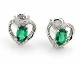 Srebrni uhani LOVE HEART s smaragdom