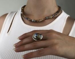 Srebrn prstan in ogrlica MODRA MAVRICA