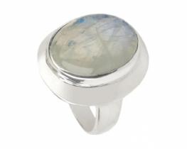 Srebrn prstan mesečev kamen 15 x 20 mm