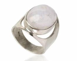 Srebrn prstan ODEON - mavrični mes. kamen