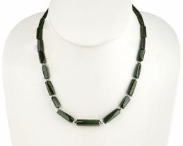 Srebrna ogrlica Zeleni turmalin 10 x 18 mm