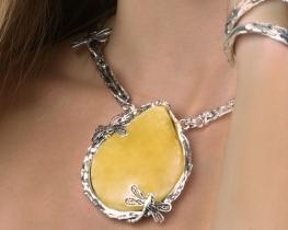 Unikatna ogrlica z jantarjem DRAGON FLY