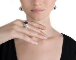 PRINCIPESSA - srebrni set nakita z ametisti
