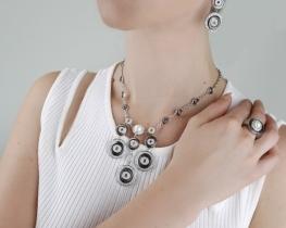 Srebrna ogrlica, prstan in uhani- set PRIMADONNA