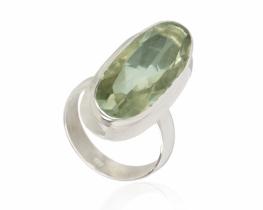 Srebrn prstan zeleni ametist Amadeus