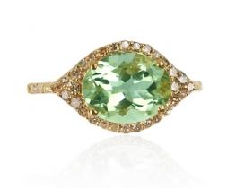 Diamantni prstan NATALIE z zelenim ametistom 8 x 10 mm