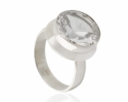 Srebrn prstan Briliantina kamena strela