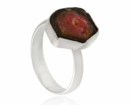 Srebrn prstan dvobarvni turmalin Watermelon