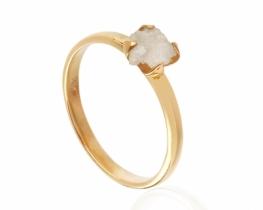 Srebrn prstan nebrušen diamant