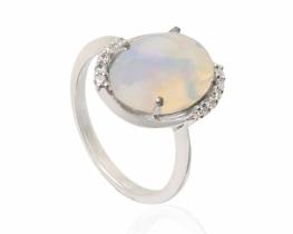 Srebrn prstan Allegro opal s topazi