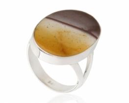 Srebrn prstan SUNSET z mokaitom